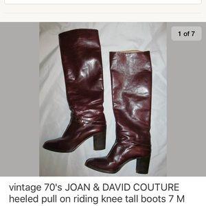 VINTAGE 70's JOAN DAVID pull on heeled knee boots